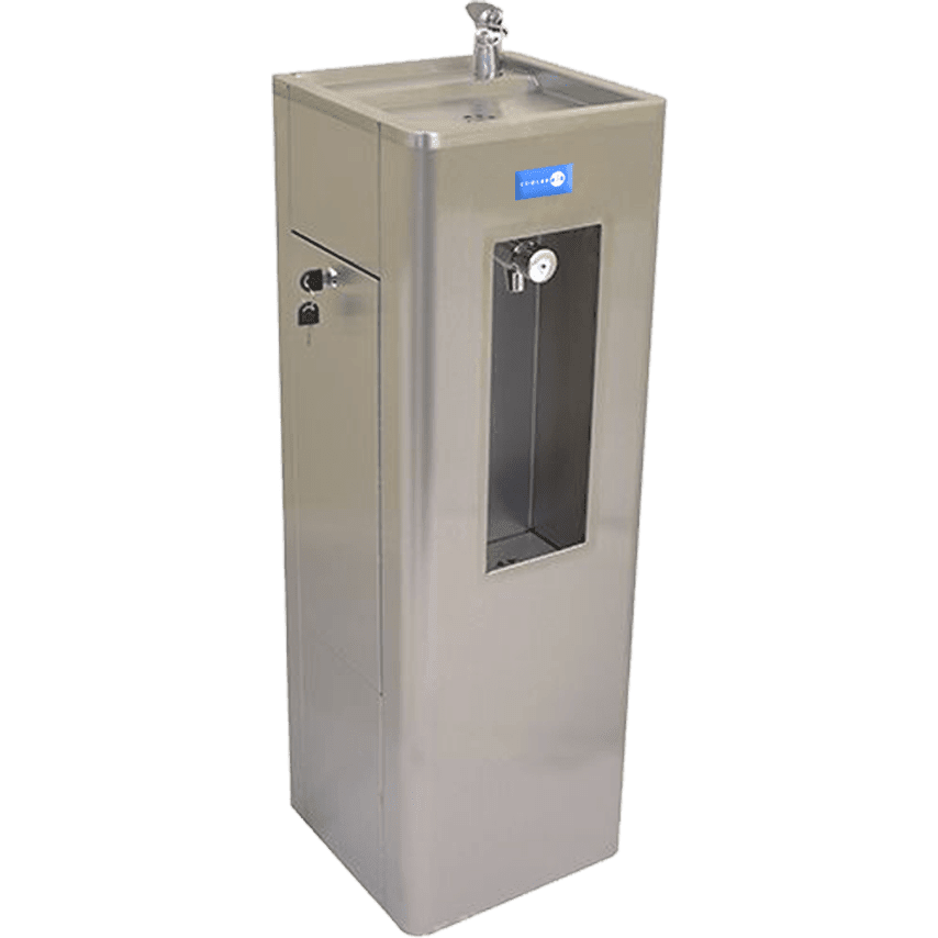 Floor standing bottle filler fountain with bubbler